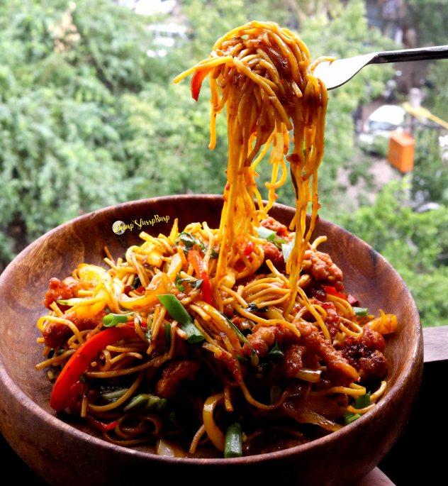 Malaysian Chicken Mango Noodles