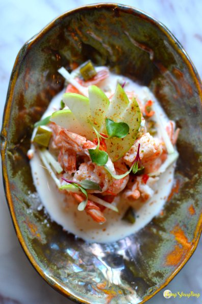 Poached prawns with chili lime jelly