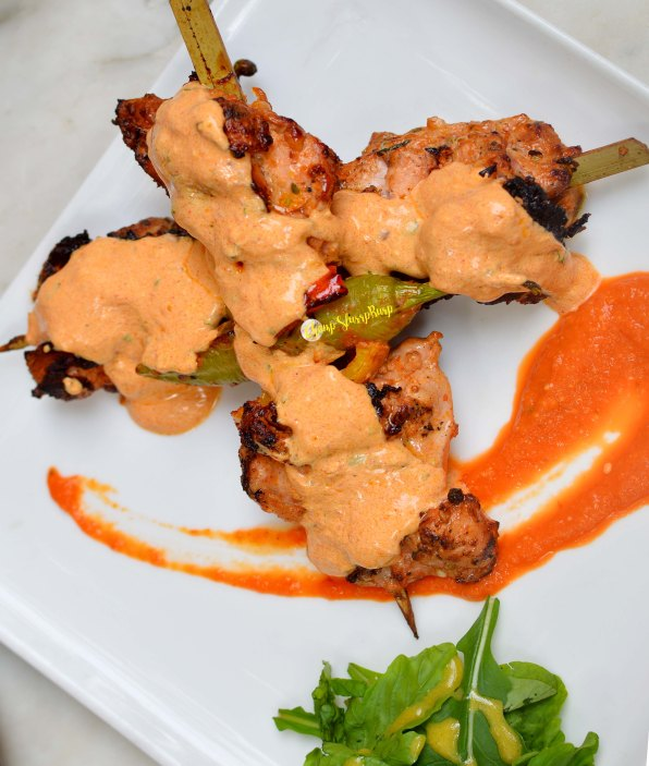 Mexican charred morita chilly chicken skewers
