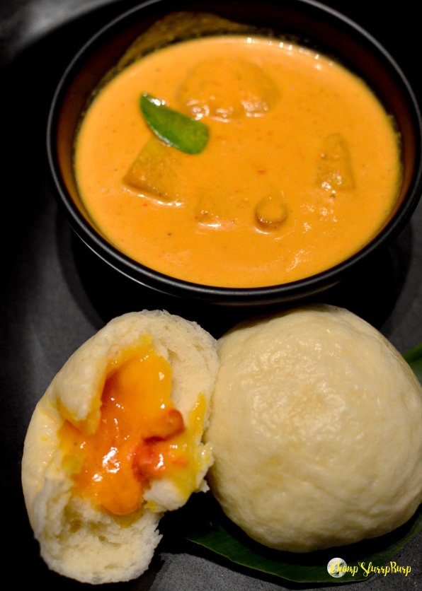 Yam and lychee curry with Cheddar bao