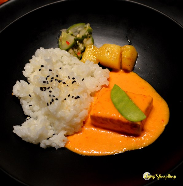 Tofu steak with coconut rice