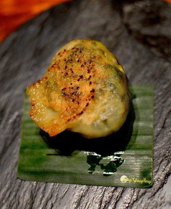 Chinese greens, corn and water chestnut gyoza
