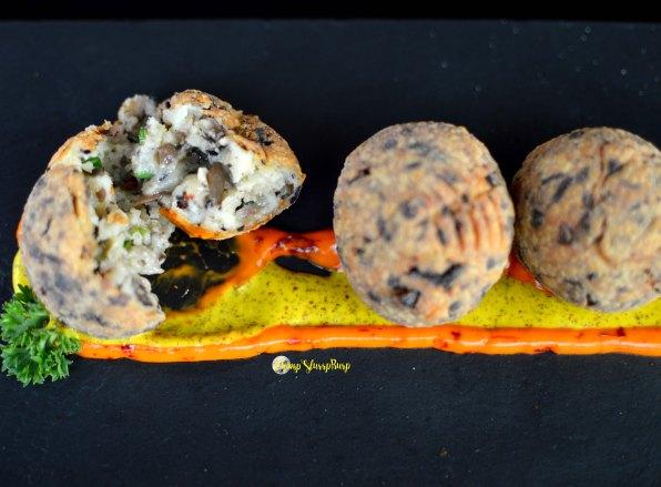 Cheese, mushroom and black pepper