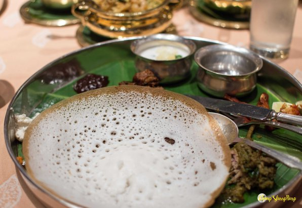 Appam, mutton roast and vegetable stew